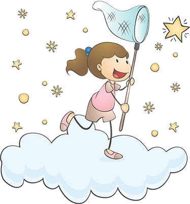 TenStickers. Child catching a star illustration wall art. An adhesive decorative illustrative wall sticker with the design of a kid catching stars. It is available in any required size.