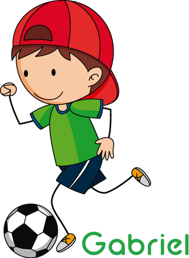 TenStickers. Boy balloon illustration wall art. Decorative football player wall sticker for teens and kids with customisable name. It is available in any size needed and it application is simple.