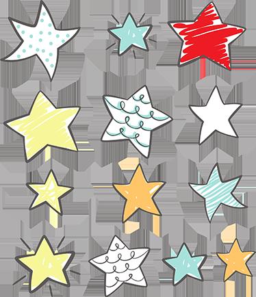TenStickers. Adesivo murale set di adesivi stellati. Adesivo camera bambini rappresentato da stelle colorate e dolci esattamente come i vostri piccolini. Di semplice applicazione, originale ed economico.