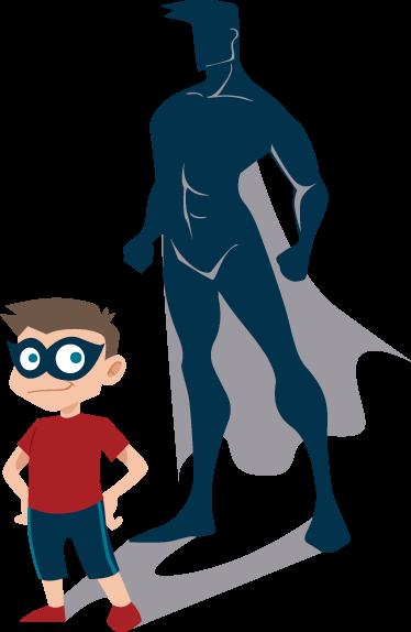 TENSTICKERS. 子供のスーパーヒーローのスーパーヒーローのステッカー. スーパーヒーローの形をした影のある少年の姿のこの壮大なキッズウォールステッカーであなたの子供の寝室を飾ります。