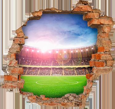 TenVinilo. Vinilo decorativo trampantojo estadio. Fotomurales personalizados, dibujos para pared con la representación de un agujero el cuál tiene unas vistas privilegiadas a un campo de fútbol.