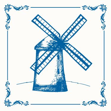 TENSTICKERS. オランダのミルタイル転送. キッチンの壁のスペースを飾るオランダミルタイルステッカー。適用しやすく、防水。必要なセットとサイズで選択してください。