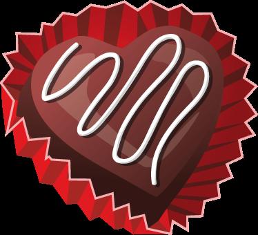 TENSTICKERS. バレンタインデーのチョコレートハートウォールステッカー. このお祝い期間中にあなたの家を飾るために私たちの素晴らしいハートステッカーコレクションからのおいしいハート型チョコレートのイラスト。