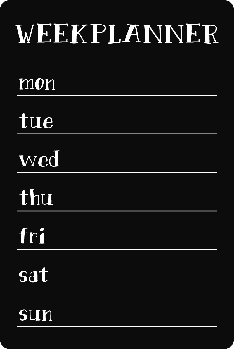 TenStickers. Week planner blackboard sticker to write on decal. A wall sticker you can write designed in form of a blackboard . Useful to organize all your weekly activities and goals. It is available in any size.