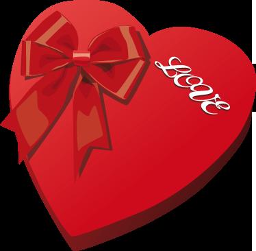 TenStickers. Adesivo de S. Valentim Caixa de coração. Um fantástico adesivo de uma caixa em forma de coração da nossa coleção exclusiva de autocolantes de S. Valentim para montras!
