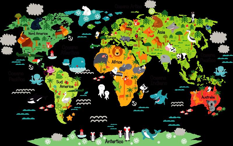 TenStickers. Adesivo da parete animali mappa mondo. Decora la stanza dei bambini con questa mappa del mondo adesivo muro colorato con nomi e animali, per rendere la loro stanza piu' vivace