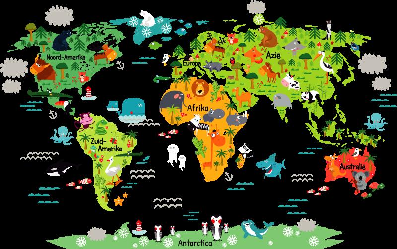 TenStickers. Wereldkaart sticker dieren kinderkamer. Breng de hele wereld in huis met deze wereldkaart sticker met dieren. De sticker is speciaal gecreëerd voor kinderen.