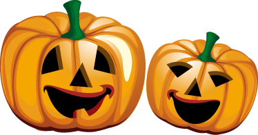 TenStickers. Halloween Pumpkins Sticker. A sticker illustrating two scary halloween pumpkins. Fantastic decal to decorate your home during halloween.