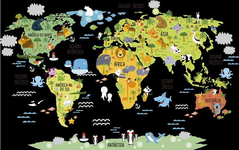 TenStickers. Adesivo infantil mapa mundo. Temos para si este adesivo infantil com a ilustração do mundo para os mais pequenos desde cedo saberem onde estão no mundo.