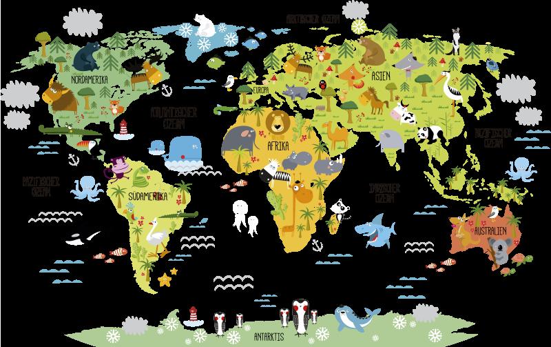 TenStickers. Wandtattoo Weltkarte Tiere. Wandtattoo für Kinderzimmer mit der Silhouette einer Weltkarte und darauf die Zeichnung der heimischen Tierwelt. Perfekt fürs Kinderzimmer.