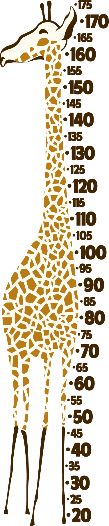TenStickers. Realistic giraffe gauge  height chart wall sticker. Realistic giraffe gauge height chart sticker to decorate the bedroom space of children. It is easy to apply and adhesive.