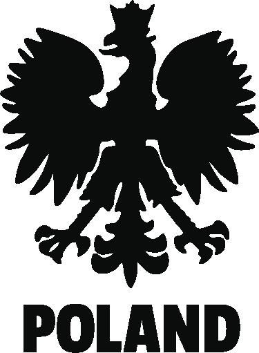 TenStickers. Naklejka Poland. Dekoracyjna naklejka winylowa Poland z Orłem w koronie. Możesz umieścić ją na samochodzie lub w sypialni, kuchni czy salonie.