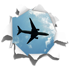 TenStickers. Plane on the sky visual effects wall decor. High quality 3D sticker with a flying plane visible from the hole in your ceiling. Spectacular visual effect and high quality sticker!