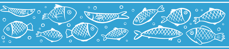 TenStickers. Fish swimming border sticker. Decorative border sticker with a pattern of hand drawn fish swimming made especially for you to personalize the walls of your bathroom.