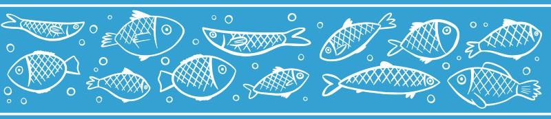 TenStickers. 鱼游泳边界贴纸. 装饰性边框贴纸,带有手绘鱼游泳图案,专为您定制个性化浴室壁。