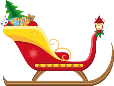 TenStickers. Santa's Sleigh Christmas Sticker. A colourful christmas decal illustrating Santa's sleigh! If you are looking for a design that the little ones will love then this is perfect!