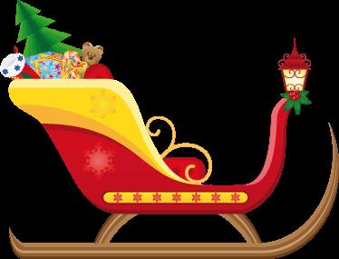 TenVinilo. Vinilo decorativo carro Papá Noel. Llamativo vinilo del trineo de Santa Claus repleto de regalos de navidad para niños y mayores. Decora tu negocio con ésta original estampa navideña.