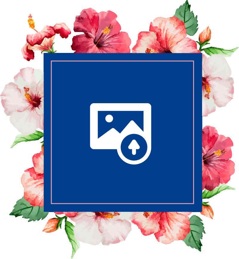 TenStickers. Muursticker fotolijst bloemen personaliseerbaar. Met deze muursticker met fotolijst van bloemen kunt u een eigen foto in de fotolijst laten printen. Hiermee kunt u fotos op de muur zetten!