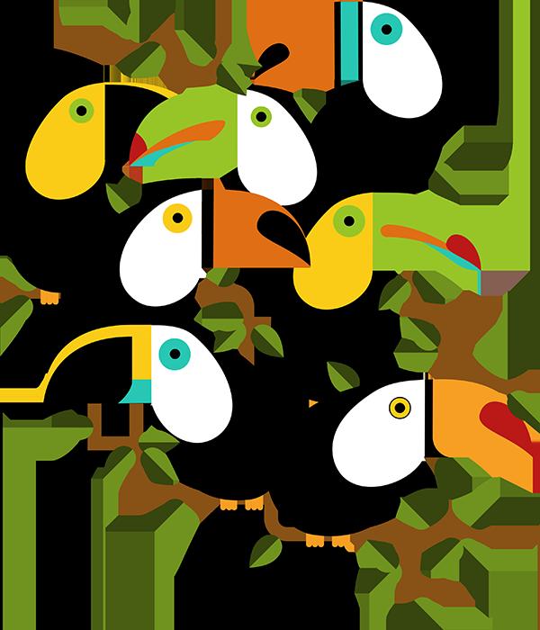 TenVinilo. Vinilo infantil árboles y animales de la selva. Vinilo mural con una representación de varios tucanes, ideal para decorar las paredes de cualquier rincón de tu casa