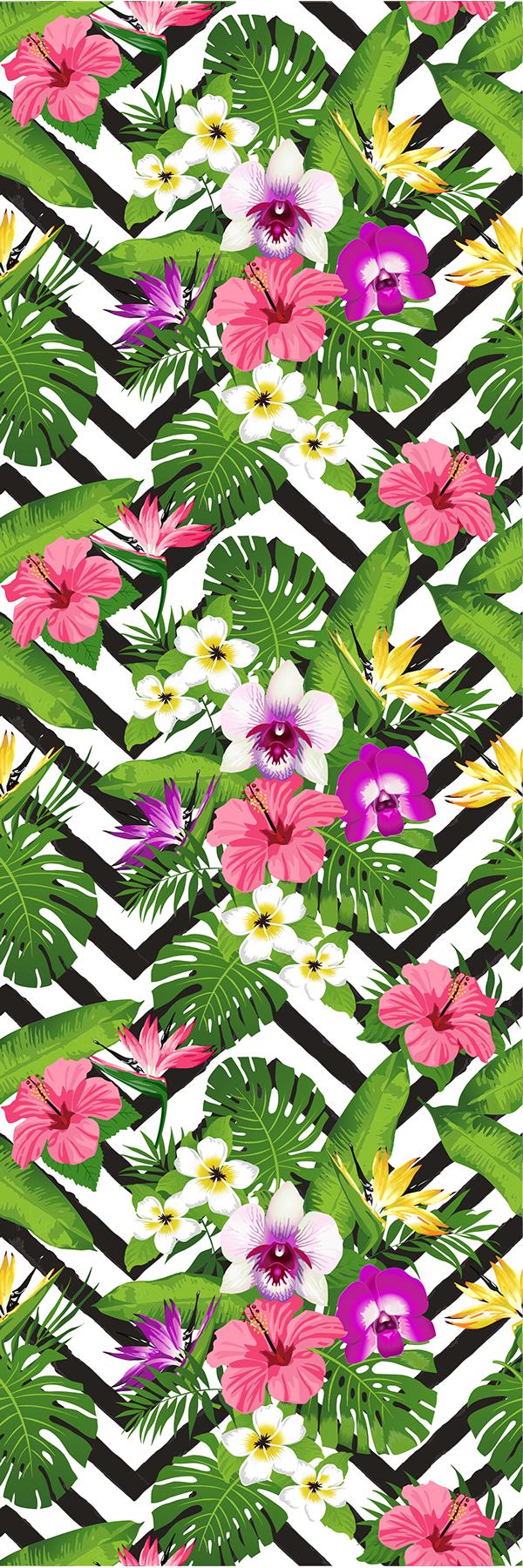 TenStickers. Hladilne nalepke cvetovi džungle. Okrasite svojo kuhinjo na izviren način s to hladilno nalepko v slogu džungle.