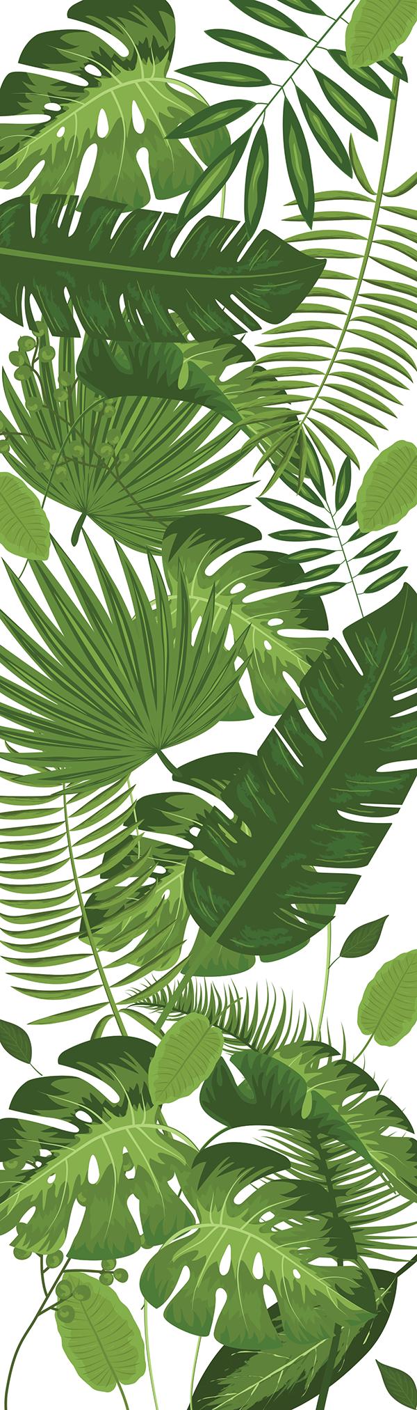 TENSTICKERS. ジャングルの木冷蔵庫ラップデカール. 冷蔵庫の表面を飾る装飾的な植物冷蔵庫ドアステッカー。必要なサイズがあり、簡単に適用できます。