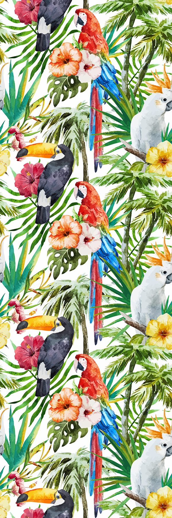 TenStickers. Jungle flora glass door sticker. Decorative door vinyl sticker designed with colorful print of jungle birds and flowers. It is customisable in any required size.