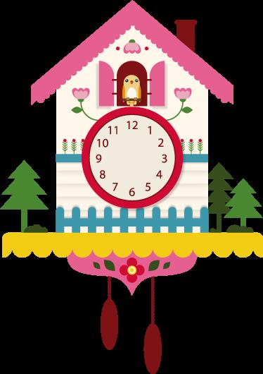 f3d1364bf2d TenStickers. Autocolante de relógio cuco. Com este adesivo de parede  ilustrando um relógio cuco. 1  2