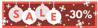TenStickers. Sticker affiche soldes hiver. Décorez votre vitrine pour Noël avec ce sticker rouge agrémenté de boules de Noël dorées.