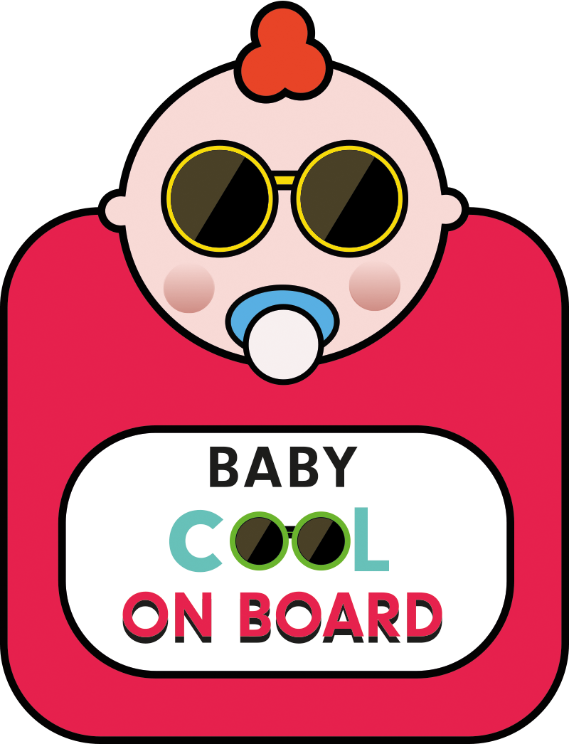TenStickers. Baby COOL baby in car sticker. Baby on board car decal to decorate vehicles for baby's security alert. It is easy to apply and self adhesive. It comes in different sizes.