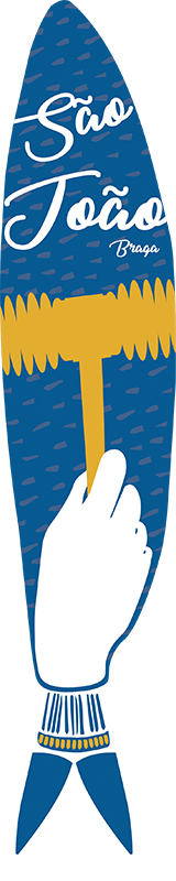 TenStickers. Autocolante sardinha São João. Celebra com este autocolante decorativo fazendo referência do martelo da famosa e religiosa festa de Portugal, chamada São João.