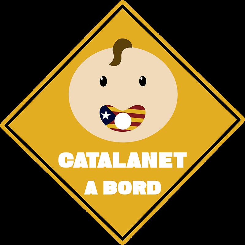 TenVinilo. Pegatina bebé a bordo Catalanet a bordo. Pegatina para coche bebé a bordo para decorar un vehículo para alertar a los demás de un pequeño bebé catalán en el coche ¡Envío a domicilio!