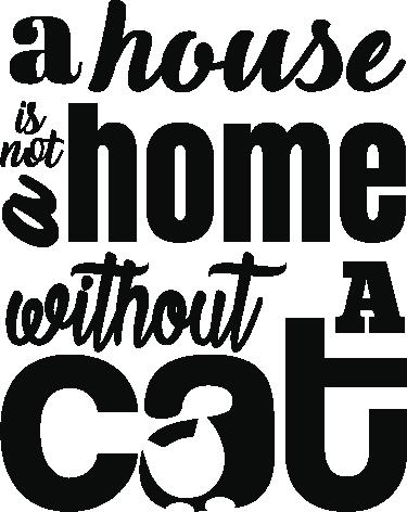 """TenStickers. Hiša brez mačke popularno pravi decal. Dekorativni tekst nalepke za domače stene, oblikovan s finim slogom pisave z vsebino """"hiša brez mačke"""". Na voljo v poljubni velikosti."""