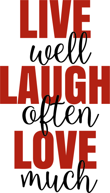 TenStickers. Muursticker Live Laugh Love. Plaatse deze liefdevolle muursticker in de kamer voor een rustige en lieve sfeer. De sticker bestaat uit de tekst 'Live well, Laugh often, Love much'.