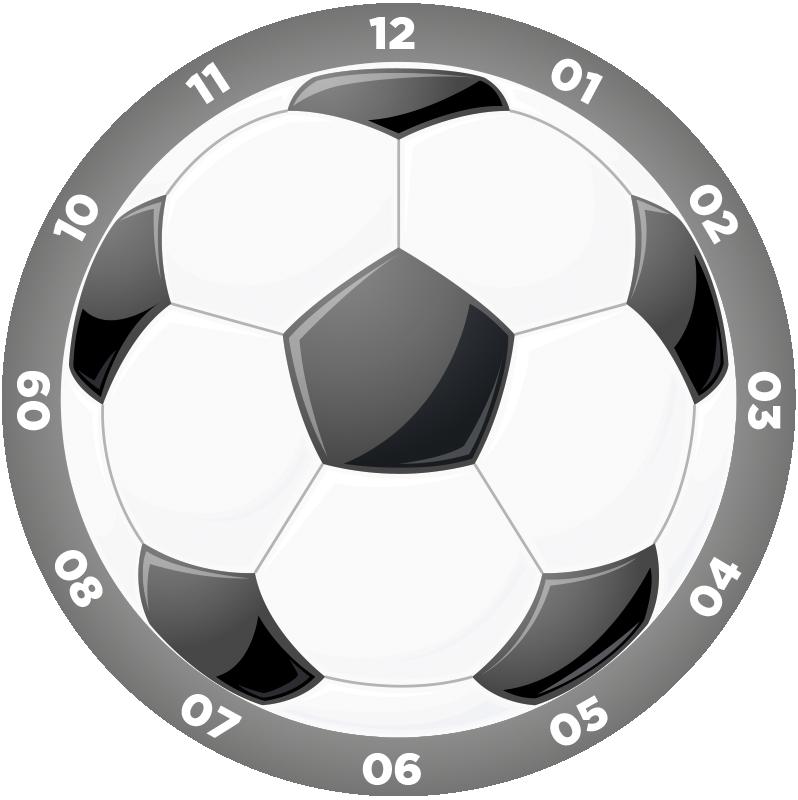 TenStickers. Fotbalové nástěnné hodiny nálepka. Ozdobte jakýkoli pokoj ve vašem domě touto fantastickou nástěnnou nálepkou na téma! +10 000 spokojených zákazníků. Ideální pro každou místnost