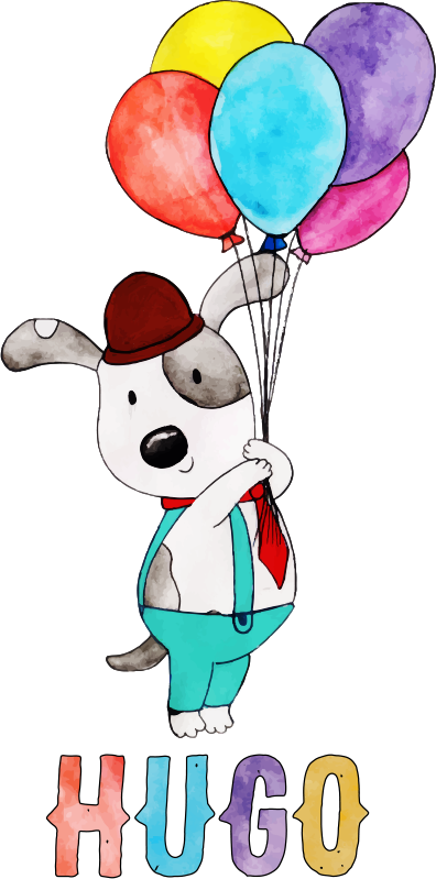 TenStickers. 儿童狗可定制墙贴. 用这个神奇的墙贴装饰您的孩子的房间!防气泡乙烯基。
