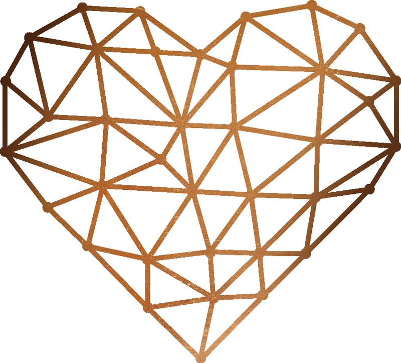 TenStickers. Muursticker origami hart. Houdt u van rechte lijnen en eenvoudige decoraties? Deze muursticker met een origami hart is dan perfect. Leuke gouden hart stickers!