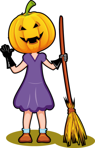 TenStickers. Decorative Halloween Girl Sticker. Sticker illustrating a girl dressed for halloween with a pumpkin and a broomstick. Perfect decal to decorate your home for halloween parties.