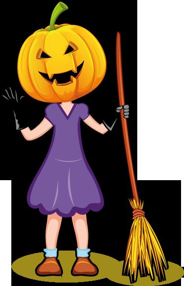 TenStickers. Sticker tête citrouille Halloween. Stickers illustrant une fille avec une tête de citrouille à l'air maléfique.Adhésif applicable aussi bien dans un salon ou sur une vitrine de magasin à l'approche de la fête d'Halloween.