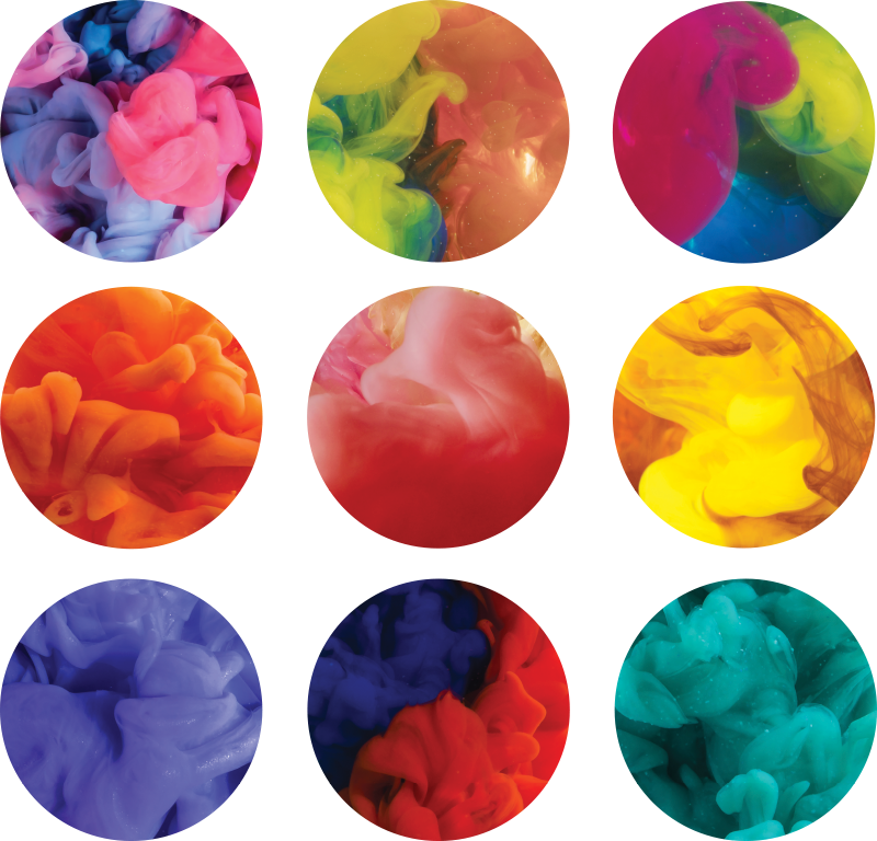 TenStickers. Naklejka ścienna kolorowy dym. Udekoruj ściany tą oryginalną naklejką! Dzięki tej dekoracji kół wypełnionych kolorowym dymem rozjaśnisz każde pomieszczenie!