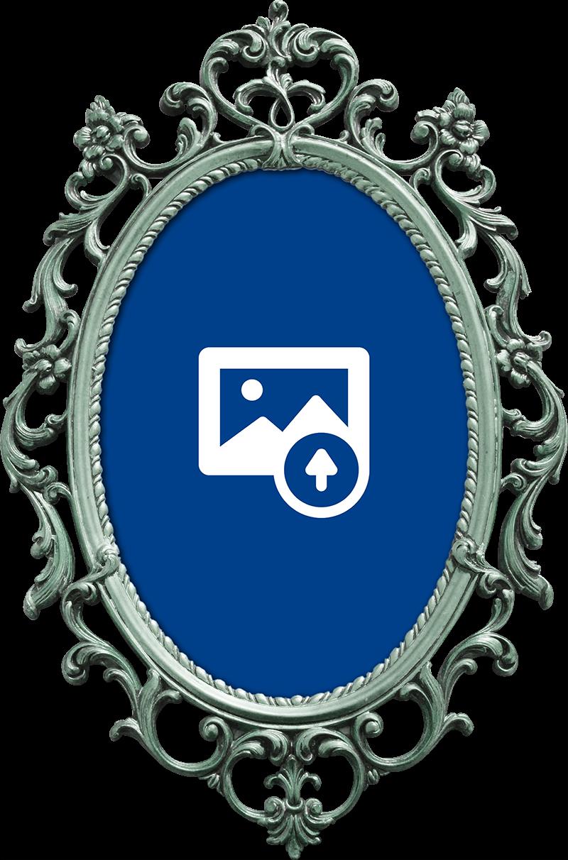 TenStickers. Wandaufkleber personalisierter vintage spiegel. Kreieren sie einen vintage-look in ihrem haus mit diesem personalisierten vintage-spiegel-wandtattoo. Dieser wandaufkleber kann durch ihr eigenes bild in der mitte des vintage-spiegelrahmens personalisiert werden.
