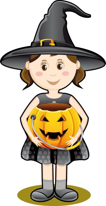 TenStickers. Halloween Girl Sticker. Business Stickers -  A little witch holding a pumpkin to decorate your business for the halloween season.Ideal for retail stores and businesses.