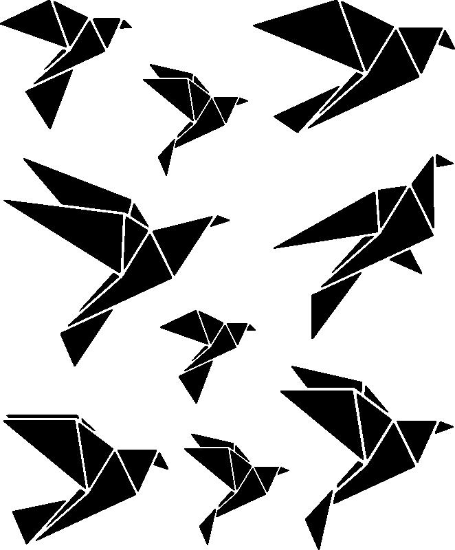 TenVinilo. Vinilos geométricos pájaros origami. Lámina de pegatinas con dibujos de aves realizadas con formas triangulares que recrean la papiroflexia o arte del papel doblado.