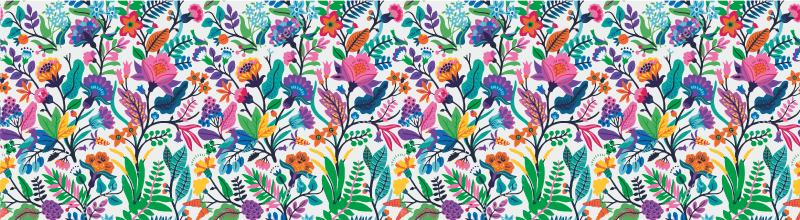 TenStickers. Sticker cuisine frise fleurs. Sticker frise représentant des fleurs et végétaux multicolores. Un sticker coloré qui vous permettra de changer l'atmosphère de votre intérieur.
