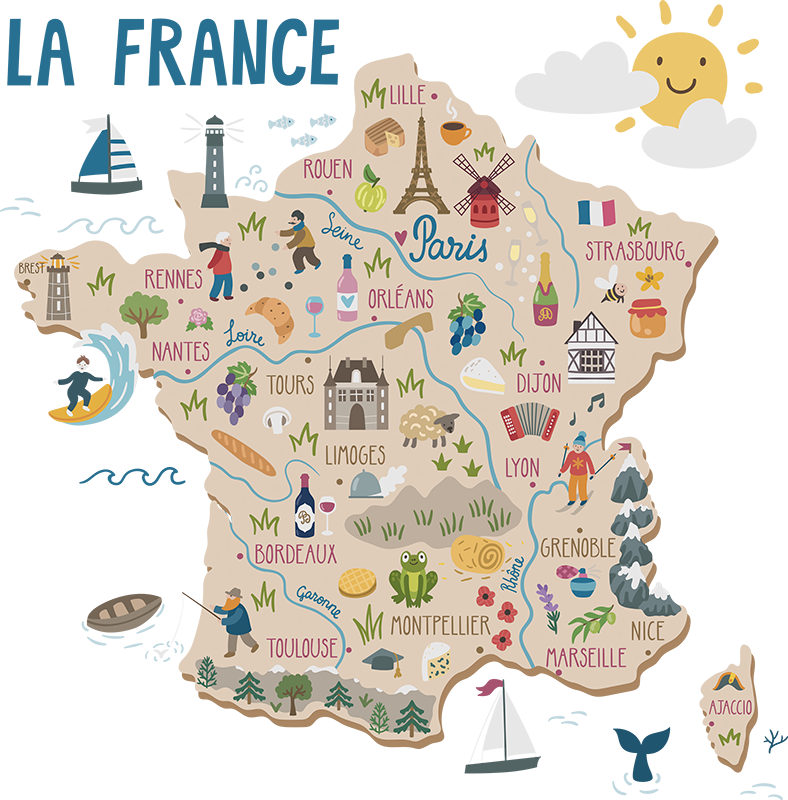 TenStickers. Places of France wall decal. Decorative educative wall sticker for children bedroom with the design of map of France with the features of it cities, placed and activities.