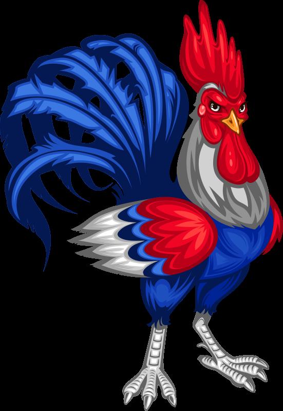 TenStickers. Sticker coq emblème France. Sticker représentant le coq tricolore. Un autocollant pour porter haut les couleurs de la France! Convient aux grands sportifs et aussi bien sûr auxenfantsqui adorent les animaux. Un sticker qui ne laissera ni bulles ni plis!
