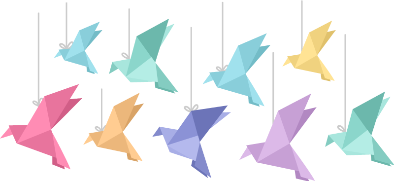 TenStickers. Colourful Origami Birds Animal Sticker. Do you want to add a little color to your bedroom or living room but don't know how to decorate them? Discover our origami bird stickers!