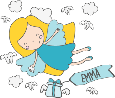 TenStickers. Kids Personalised Tooth Fairy Sticker. Personalised Tooth Fairy wall sticker for decorating a child's bedroom. This cute cartoon wall sticker shows the tooth fairy flying through the clouds about to deliver a present for your child with their name on it, the perfect gift to give their bedroom a happy and personal atmosphere.
