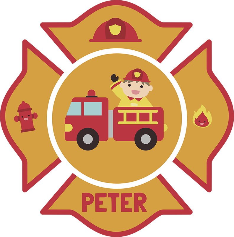TenStickers. Personalised Kids Firefighter Wall Sticker. Personalised firefighter wall sticker for kids, perfect for decorating the walls of their bedroom. This fun children's sticker shows a fireman in his firetruck surrounded by a fire hydrant, a helmet, a fire symbol and the name of your child.