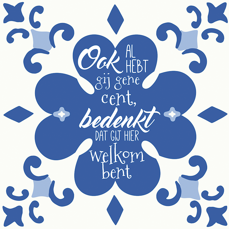 TenStickers. Dutch blue tile  wall text sticker. Dutch blue tiles with text sticker decoration for home space . it is available in any size needed. it is easy and very adhesive.
