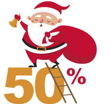 TenVinilo. Pegatinas personalizadas promo Navidad. Encantador y original vinilo de Santa Claus sujetando un letrero en blanco para decorar tu negocio ésta navidad de una manera llamativa.